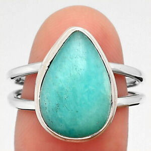 Natural Paraiba Amazonite 925 Sterling Silver Ring s.8 Jewelry 6094