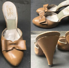50s Vtg Spring-o-lator @ natural hand-crafted leather high heel mule Shoe 6.5M