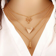 Women Lady 3 Layer Chains Crystal Choker Chunky Statement Bib Pendant Necklace