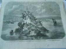 Gravure 1858 - L'Ile d'or Kin Chan et la ville forte de Koua Techou