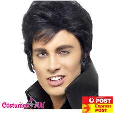 Mens Elvis Presley Wig Rock n Roll Move Star Black Wigs 1950s 50s 60s Grease