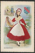 Embroidered clothing postcard Artist Elsi Gumier, France, Bourbonnais, woman