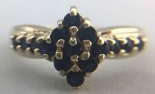 LADIES 10K YELLOW GOLD RING WITH SAPPHIRE STONES, SIZE 7