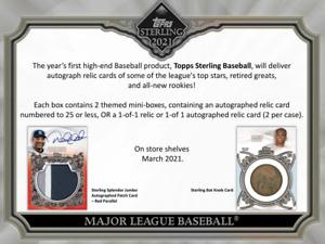 2021 Topps Sterling Baseball Live 1 Hobby Box Player Break #1