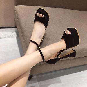 Women's Ankle Strap Sandals Faux Suede Peep Toe Platform Kitten High Heels Shoes