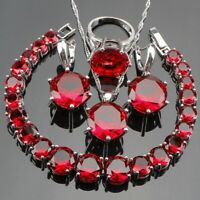 HIGH PROFILE 925 Sterling Silver RED Set with Bracelet, Ring, Earring,Necklace