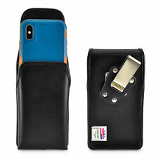 Holster fits iPhone XS with OTTERBOX PURSUIT Vertical Black Leather Pouch Clip