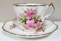 Royal York Teacup and Saucer Pink Flowers w/Gold Trim Bone China England