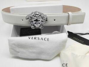 Authentic Versace Classic White Leather Silver Medusa Buckle Belt 36-90cm