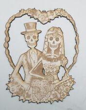 Engraved Wood Bride & Groom Sugar Skull Couple Day of the Dead Laser Cut Wedding