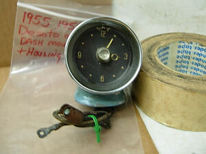 1955 DODGE DESOTO ORIG FACTORY TOP DASH MOUNT 6 VOLT CLOCK & HOUSING 55 MOPAR