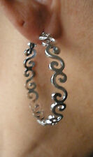 SILVER CONNECTED SWIRL HIGH POLISHED HYPO ALLERGENIC HOOPS