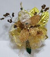 vtg Christmas Corsage Gold ANGEL Mercury glass bead Chenille Tree package tie