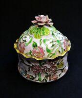 Vintage Porcelain Cloisonne Flowers Butterflies Trinket Box | FREE Delivery UK*