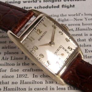 Mens Original 1948 Hamilton DENNIS Tonneau 10K YGF Curved Art Deco USA Watch  A+