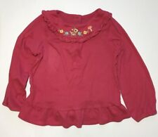 Girls Gymboree Dark Coral Long Sleeve Ruffle Hem Yoke Tunic Top Size 4