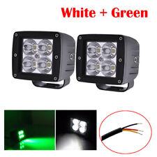 "2X 24W Green/White Led Work Light 3X3"" Cube Spot Pods Dual Colors Fog Driving"
