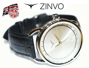 ZINVO Unisex Ladies Women`s Premium Swiss Watch in Gift Box Black Leather Strap