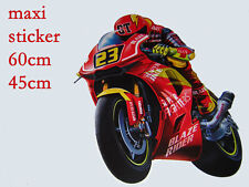 grand sticker mural chambre enfant moto de course rouge