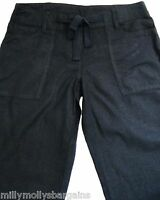 New Womens Black Linen NEXT Trousers Size 8 Regular Leg 31 LABEL FAULT