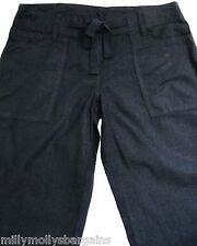 New Womens Black Linen NEXT Trousers Size 12 Petite Leg 29