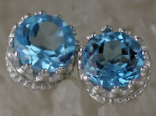 SPARKLING Solid 14K White Gold SWISS Blue Topaz Crown Stud Earrings 7mm 2.25ct