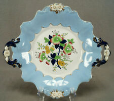 Ridgway Morley & Wear Ground Dog Rose Blue & Gilt Dessert Dish C1835-1842 AS IS
