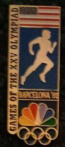 1992 NBC Barcelona Olympic Pin Athletics Track Rings US Flag Large Media Press