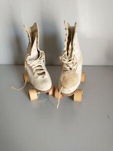 Vintage women's roller skates- wooden wheels. Chicago roller skate Co.