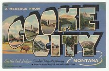 [59638] 1950 LARGE LETTER POSTCARD GREETINGS FROM COOKE CITY, MONTANA