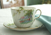 1930's Aynsley Fluted Bluebell Time Coffee Cup and Saucer #C1193 Gold Gild