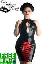 Sexy Black Latex Leather Wet Look Keyhole Red Lace Up Dress OS 8-12  (D1137)