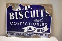 """Vintage B.P Biscuits And Confectionery Signboard Porcelain Enamel Advertising """"3"""