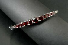 Bracelet Silver Sterling Garnet Red Stones Graduated Size Bangle Hinged 925
