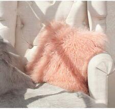 "Handmade Mongolian Fur 12""x20"" Rectangle Pink Pillow Case & back Fabric US Stock"