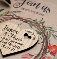 Wooden Save The Date Cards Wedding Magnets Rustic Oak Hearts Barn Wedding Wreath