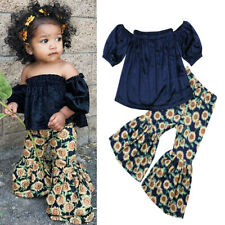 Kids Baby Girl Clothes T-Shirt Tops + Floral Pants Outfits 2Pcs Casual Set