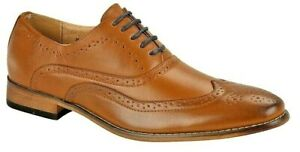 Mens Brogue Leather Lined Shoes Tan Brown Wedding Formal Shoes 3 -14