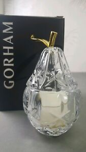 """Gorham Crystal Votive Candle Holder """"Lady Anne"""" PEAR w/ Votive Candle"""
