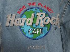 Hard Rock Cafe Paris Jean Jacket Mens siz Small Vintage unisex truckers coat EUC