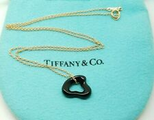 Tiffany & Co Peretti Black Jade Carved Open Small Heart Pendant 18k Necklace 16""