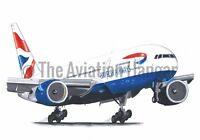 British Airways Boeing 777-300 Touching Down Artwork Print A4