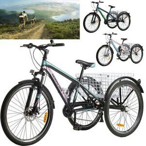 Adult Mountain Bike 7 Speed 3 Wheel 26'' Mountain Tricycle Cruiser Trike+Basket
