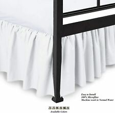Bed Skirt With Split Corner Easy Fits Deep Elastics All Sizes White Solid