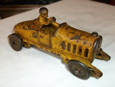 ANTIQUE RACE CAR, CAST IRON, YELLOW, nice size at 5 3/8th inches long, ORIGINAL