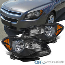 For 08-12 Chevy Malibu Black Replacement Headlights Amber Signal Lamps Pair