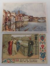 Antique Lot of 2 Beautiful Florence Italy Unused Collectible Postcards Rare Find