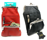 Women's Leather Cigarette Case Pouch+Coin Purse 100s King 84s 2pc Lot BLACK+ RED