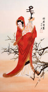 ORIENTAL ASIAN FINE ART CHINESE FAMOUS FIGURE WATERCOLOR PAINTING-Beauty&Flowers