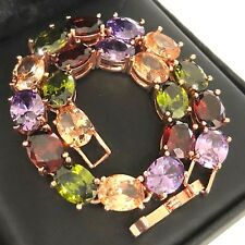 Luxury Oval Amethyst Ruby Emerald Gemstone Bracelet Yellow Gold Plated Jewelry